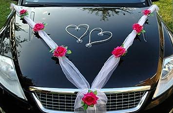 Decoration De Voiture De Mariage.Organza M Cœur Voiture De Mariage Bijoux Rose Decoration Decoration Auto Bijoux Mariage Car Auto Wedding Ratan Guirlande Voitures Pink Weiss Weiss