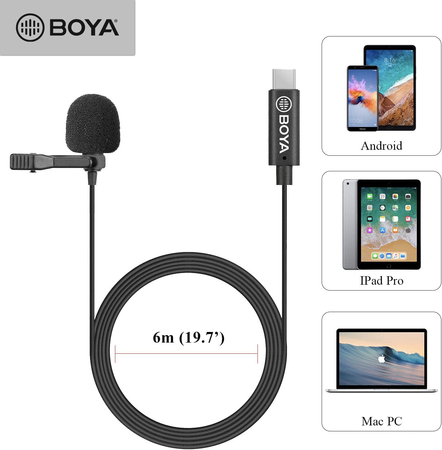 236inch Cable Length BOYA by-M3 Clip-on Omnidirectional Lavalier Microphone for USB-C Android Devices