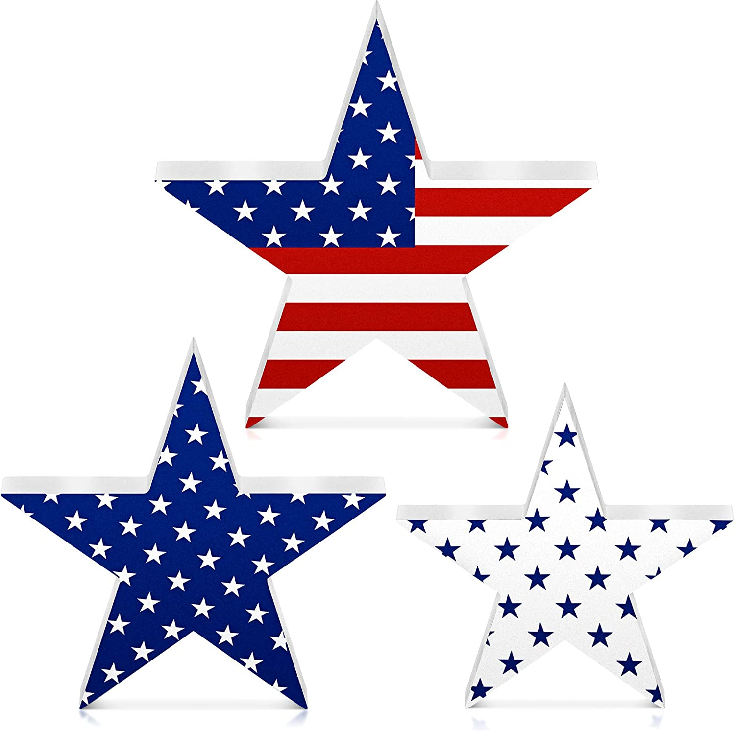 Jetec 3 Pieces Independence Day Wooden Star Signs Patriotic Wooden Star Patriotic Star Freestanding Table Signs Decoration for Independence Day Home Decoration Holiday