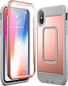 YOUMAKER Case for iPhone Xs & iPhone X, Rose Gold Full Body with Built-in Screen Protector Heavy Duty Protection Shockproof Slim Fit Cover for All New Apple iPhone Xs (2018) 5.8 inch - RG/Gray