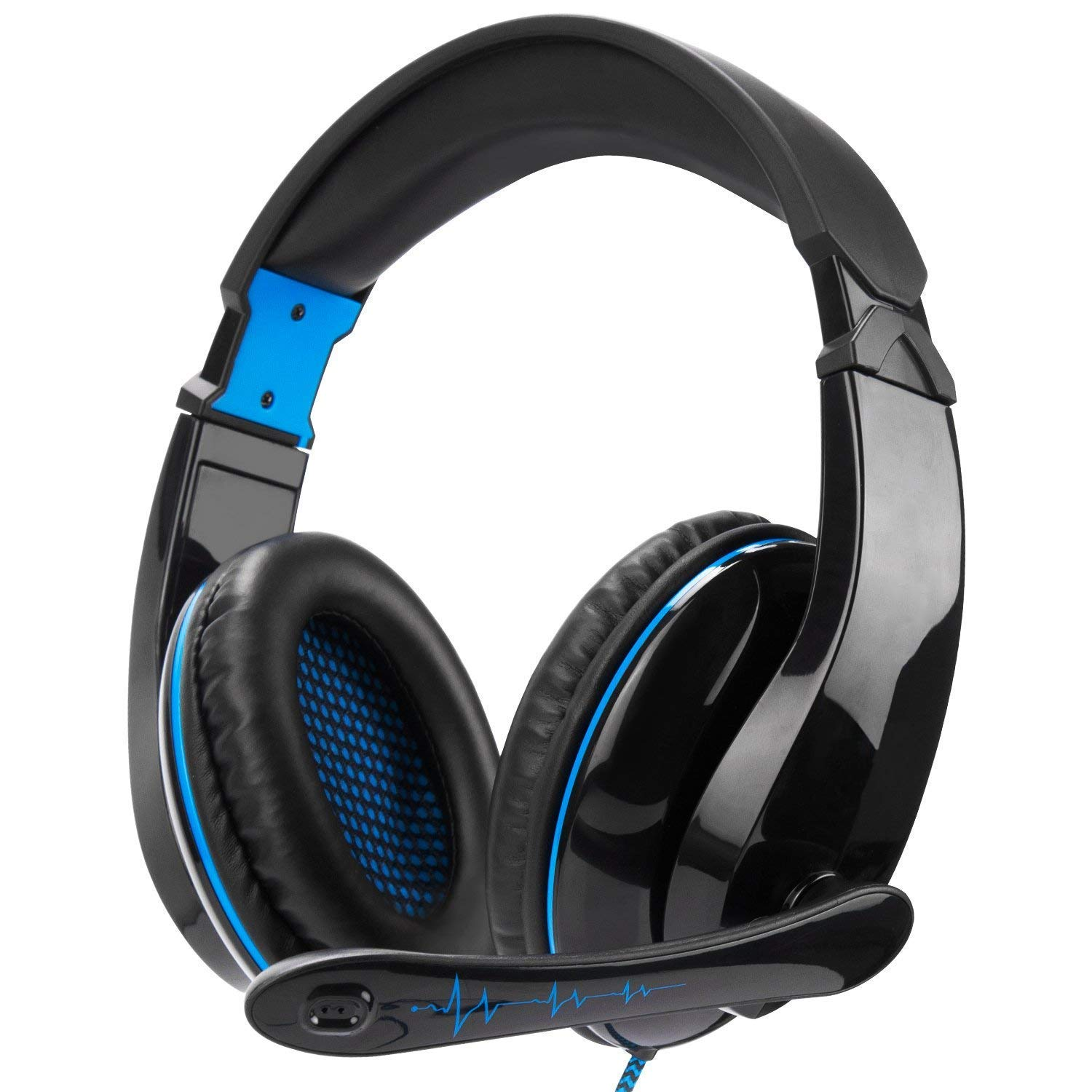 Xbox One Gaming Headset Stereo Over Ear Gaming Headset with Mic Noise Cancelling Volume Control for Xbox One PC Mac PS4 Nintendo Phone Black Blue