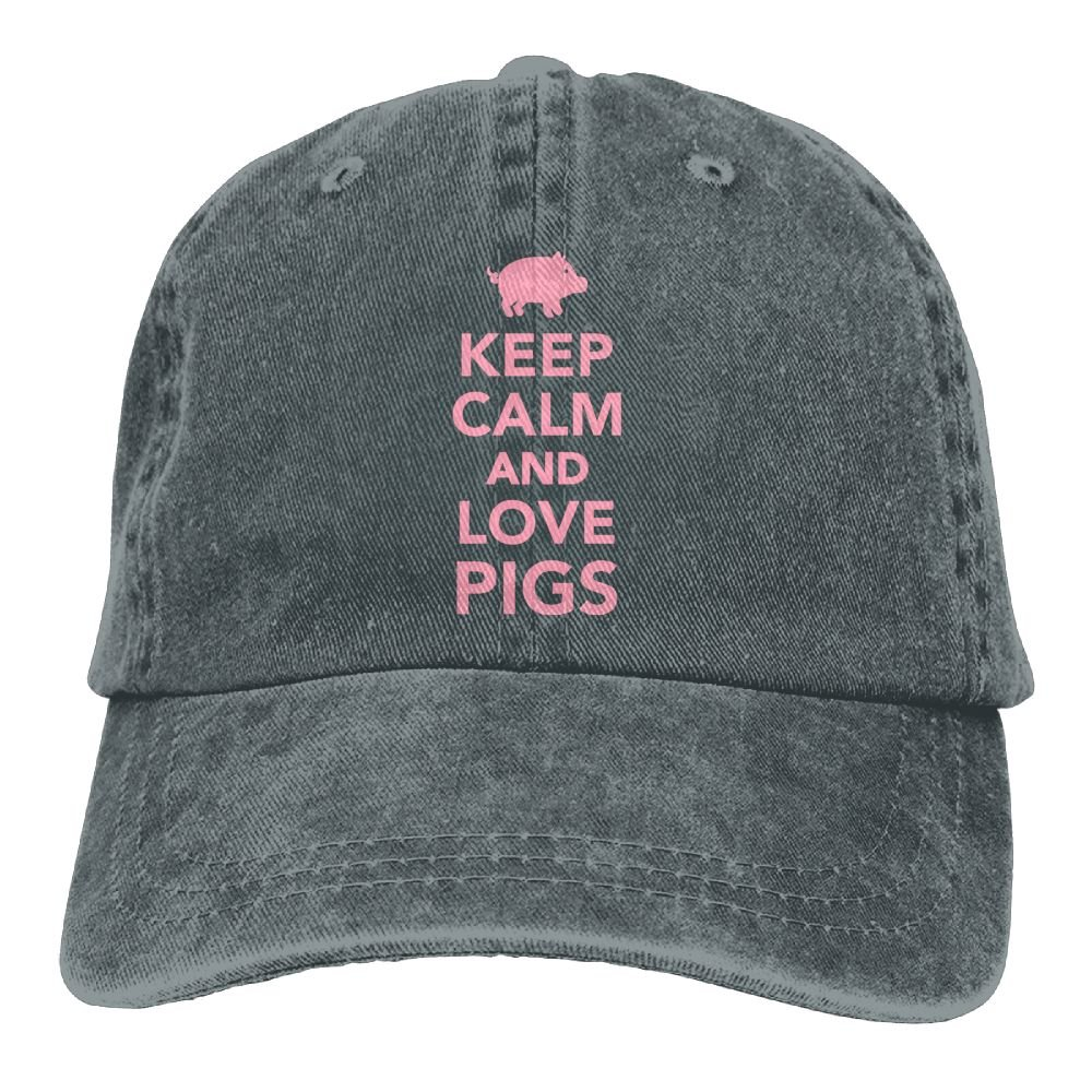 Arsmt Keep Calm and Love Pigs Denim Hat Adjustable Womens Classic Baseball Hats