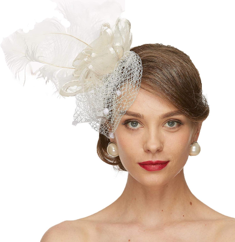 Lady Wedding Races Church Pillbox Hat Hair Clip Handmade Fascinator Veil Feather