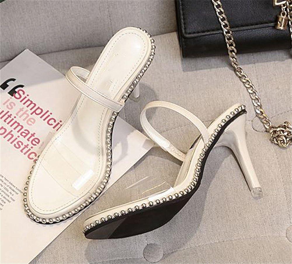 Super frist Women Open Toe Toe Open Transparent High Heels Lucite Clear Dress Sandals Ankle Strappy Bukle Stilettos B07DYFK3BC 38/7 B(M) US Women|White 566416