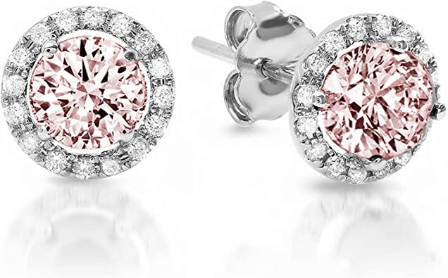 1.50 ct Round Brilliant Cut Simulated Diamond CZ Solitaire Stud Earrings in 14k Rose Gold Screw Back