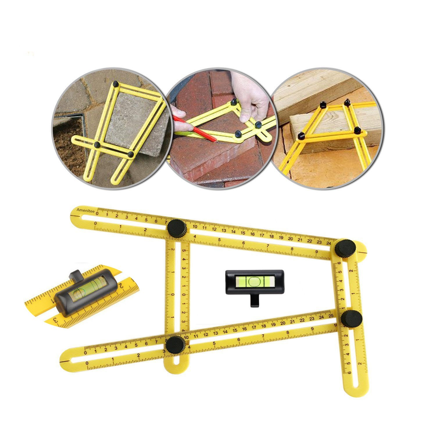 Multi Angle Measuring Ruler, Precise Angle Ruler Template Tool with FREE Protective Pouch, With Unique Line Level-Embedded ABS Bolts and Nuts-Ultimate Template Tool-Perfect Gifts