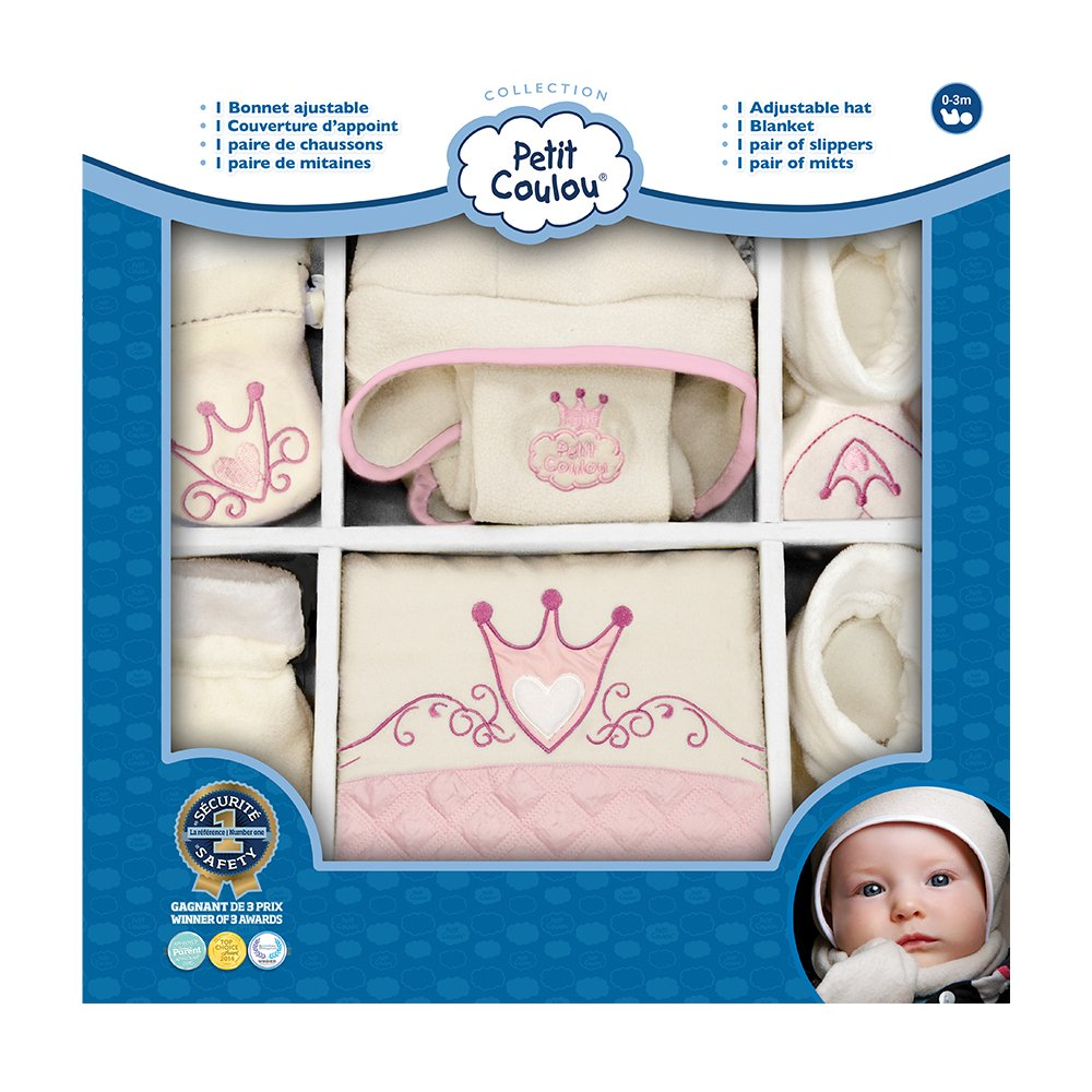 Petit Coulou Hat, Slippers, Mitts and Blanket Gift Set, Beige/Pink PC2008