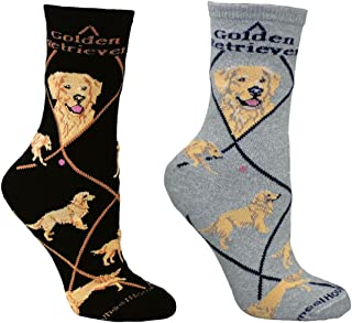 product image for Bundle 2 Items: Golden Retriever on Black and on Gray Cotton Ladies Socks