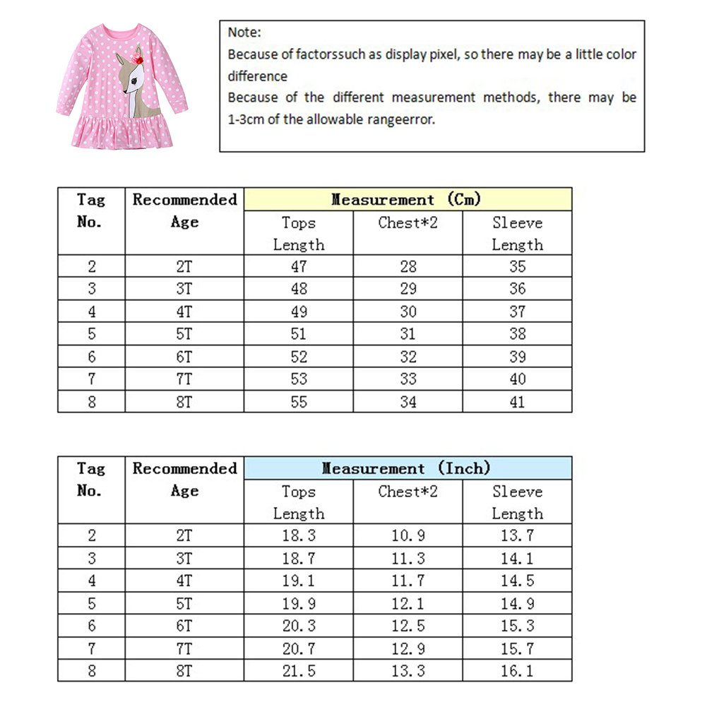 Diamondo Toddler Baby Girls Kids Autumn Clothes Long Sleeve Party Deer Tops T-Shirt Pink, 7T