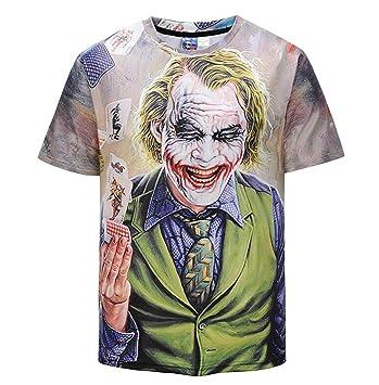 e233c697c Camiseta estampada en 3D de manga corta para hombre Camiseta personalizada  estampada en cuello redondo con estampado ...
