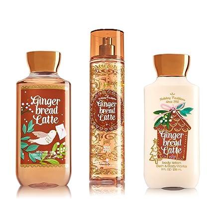 Bath and Body Works Gingerbread Latte Fragrance Mist, Lotion and Shower Gel Set – Winter 2016 Ginger Bread