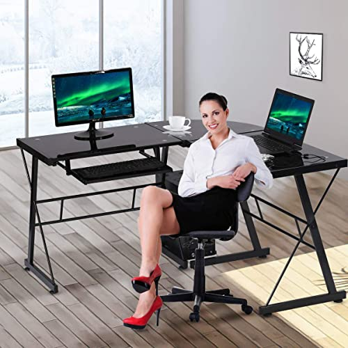 L Shaped Computer Gaming Desk Toughened Glass L Shaped Corner Desk