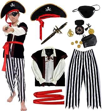 Disfraz de Pirata Niño con Accesorios Pirata Parche Daga brújula ...