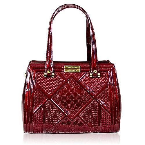Valentino Orlandi Bolso de declaración de cuero con textura de color rojo cereza italiano diseñador: Amazon.es: Zapatos y complementos
