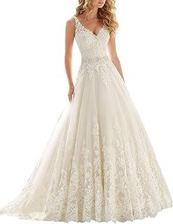 Changjie Mujeres V-cuello una l¨ªnea de vestidos de boda del Applique del