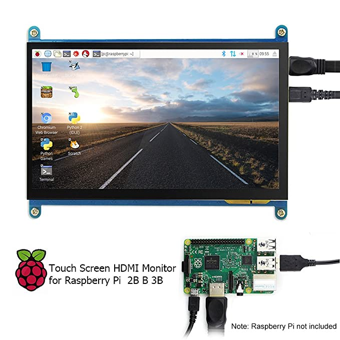 ELECROW HDMI TFT LCD Display Monitor 7 Inch 1024X600 HD Screen with Touch  Function for Raspberry Pi B+/2B Raspberry Pi 3B