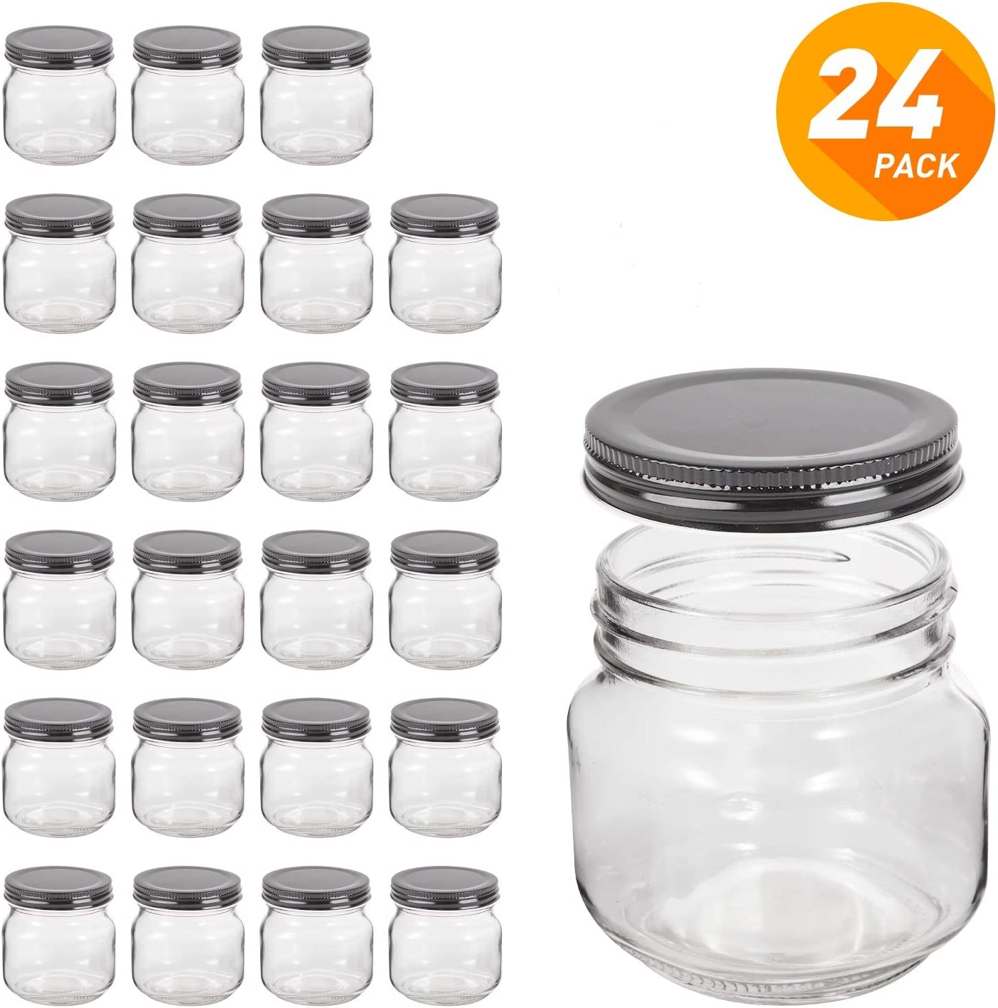 QAPPDA Mason Jars,Glass Jars With Lids 8 oz,Canning Jars For Pickles And Kitchen Storage,Wide Mouth Spice Jars With Black Lids For Honey,Caviar,Herb,Jelly,Jams,Set of 24