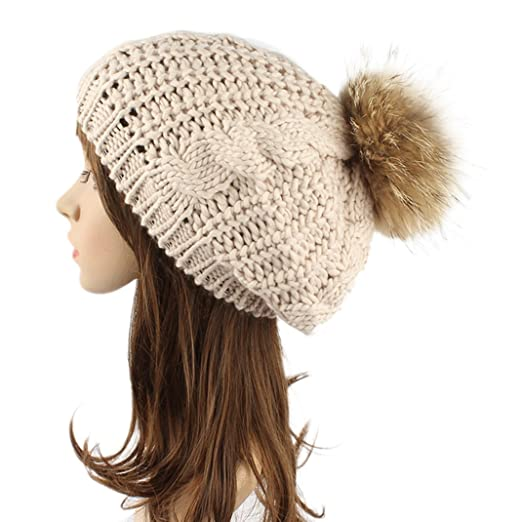 3a3ded2564b Women Winter Slouchy Beanies knit with Raccoon Fur Pompoms Beanie Hat Beige