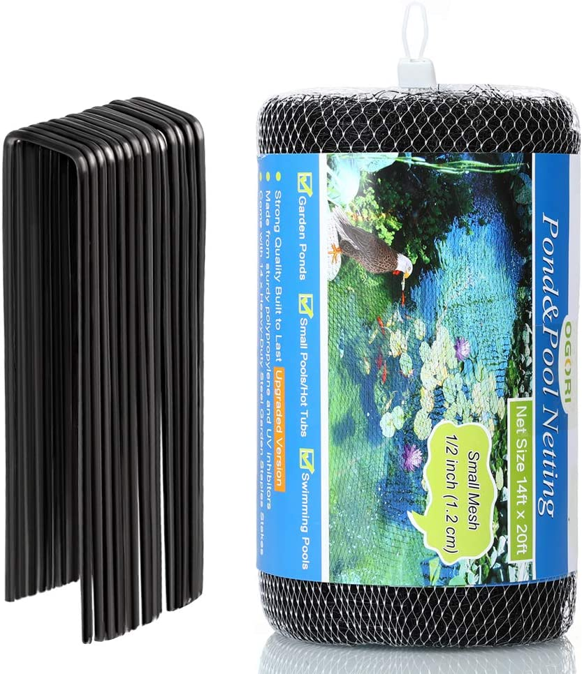 OGORI 14 x 20 ft Pond Netting with 14 Heavy-Duty Steel Garden Staples Stakes,Reusable and Doesn't Tangle - Protective Netting Against Blue Heron Birds and Cats