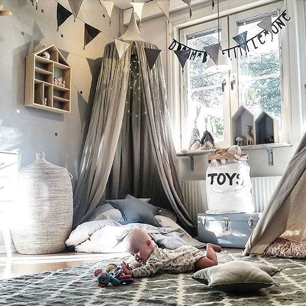 Princess Bed Canopy Mosquito Net for Kids Baby Crib, Round Dome Kids Indoor Outdoor Castle Play Tent Hanging House Decoration Reading nook Cotton Canvas Height 240cm/94.9 inch (Navy) by Hotmiss (Image #3)