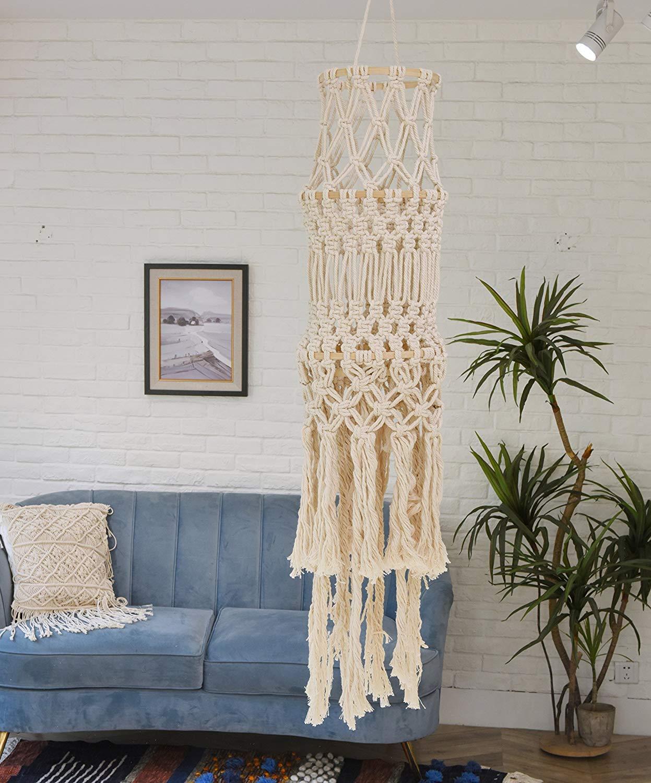 Flber Macrame Chandelier Lamp Shade Lantern For Boho Wedding Handwoven Lampshade Bohemian Home Decoration,9.8'' Wx 57'' L