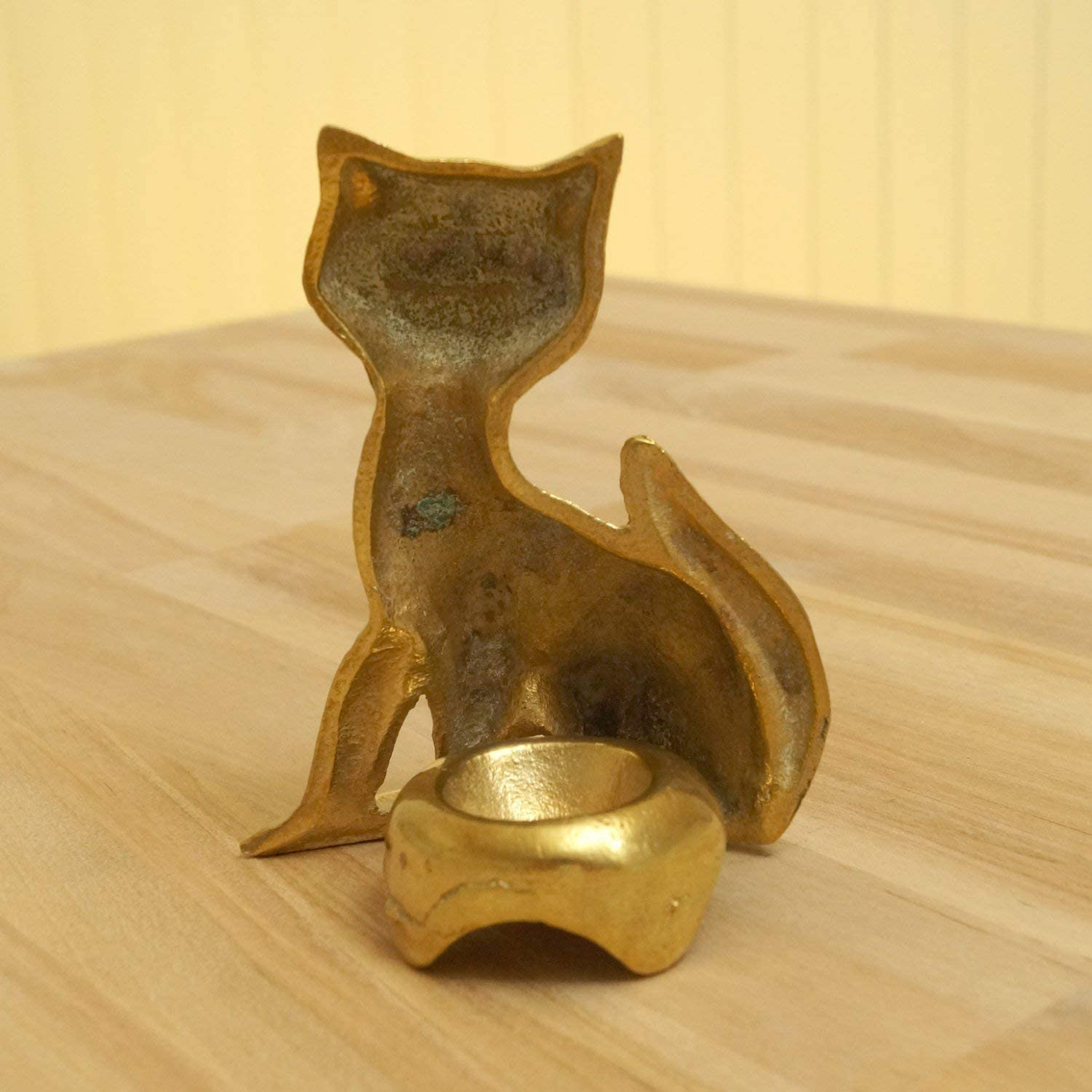 Kitten Vintage Solid Brass Smiling Cat Figurine  candle holder  Ashtray Home decor