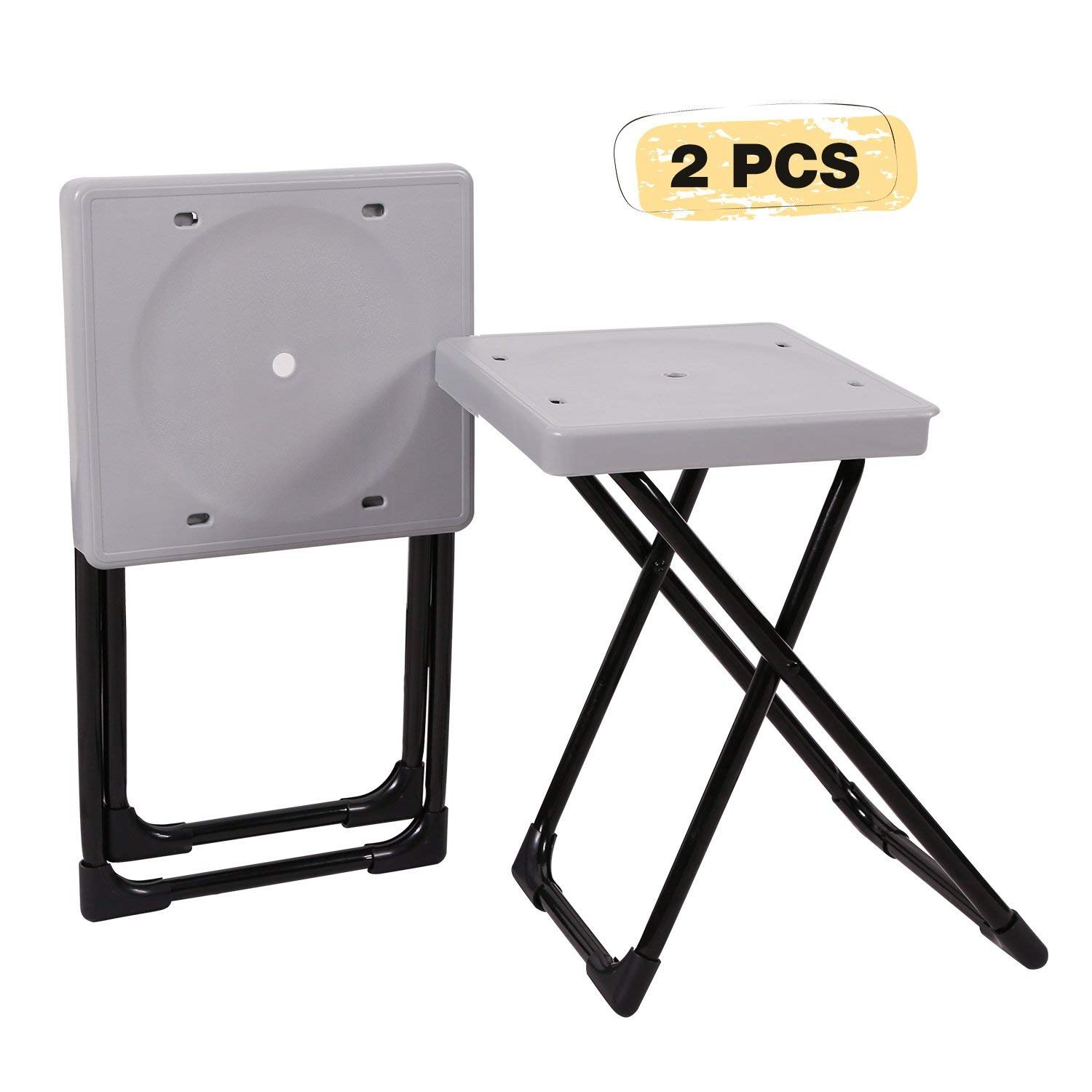 REDCAMP Folding Camp Stool Portable, Set of 2, Lightweight Camping Stools Plastic with Durable Steel Frame Legs, 15''