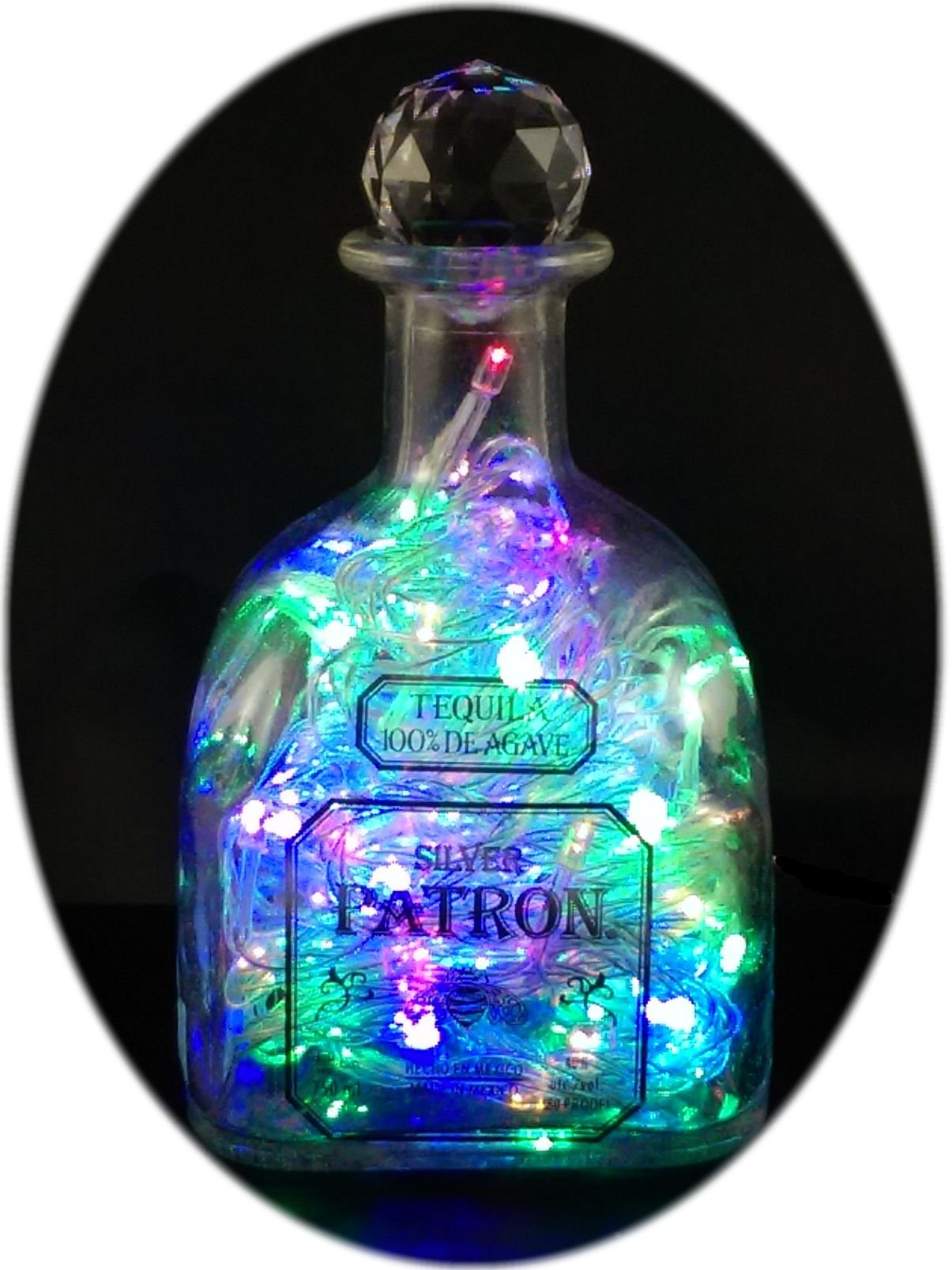 The Bottle Upcycler Upcycled Patron Tequila Mood Therapy Liquor Bottle Light with Multi-color Leds Topped with an Asfour 30% Leaded Clear Crystal Prism Ball by The Bottle Upcycler