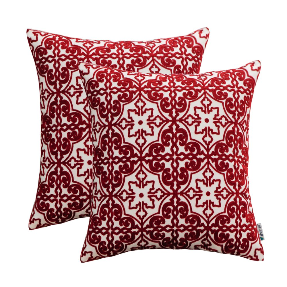 HWY 50 Cotton Embroidered Decorative Throw Pillow Covers Sets Cushion Cases for Couch Sofa Bed Living Room Wine Red Euro Pretty Modern Burgundy Elegant Floral Geometric 18 x 18 inch Pack of 2