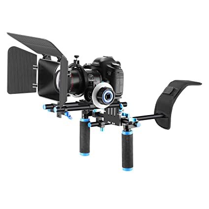5020ceb9c Amazon.com : Neewer Film Movie Video Making System Kit for DSLR Cameras  Video Camcorders, includes:Shoulder Mount, 15mm Rod, Follow Focus, Matte Box(Blue)  ...