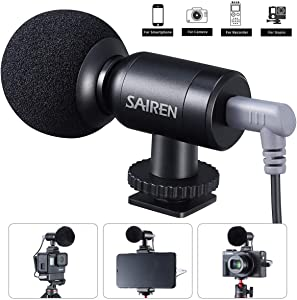 Mini Video Microphone, SAIREN Camera Microphone Mini Vlog Mic for Canon/Nikon/Sony Camera,DSLR,Gopro,Camcorders,Smartphone,iPhone, Interview Camera Mic for Recording YouTube Tiktok Livestream