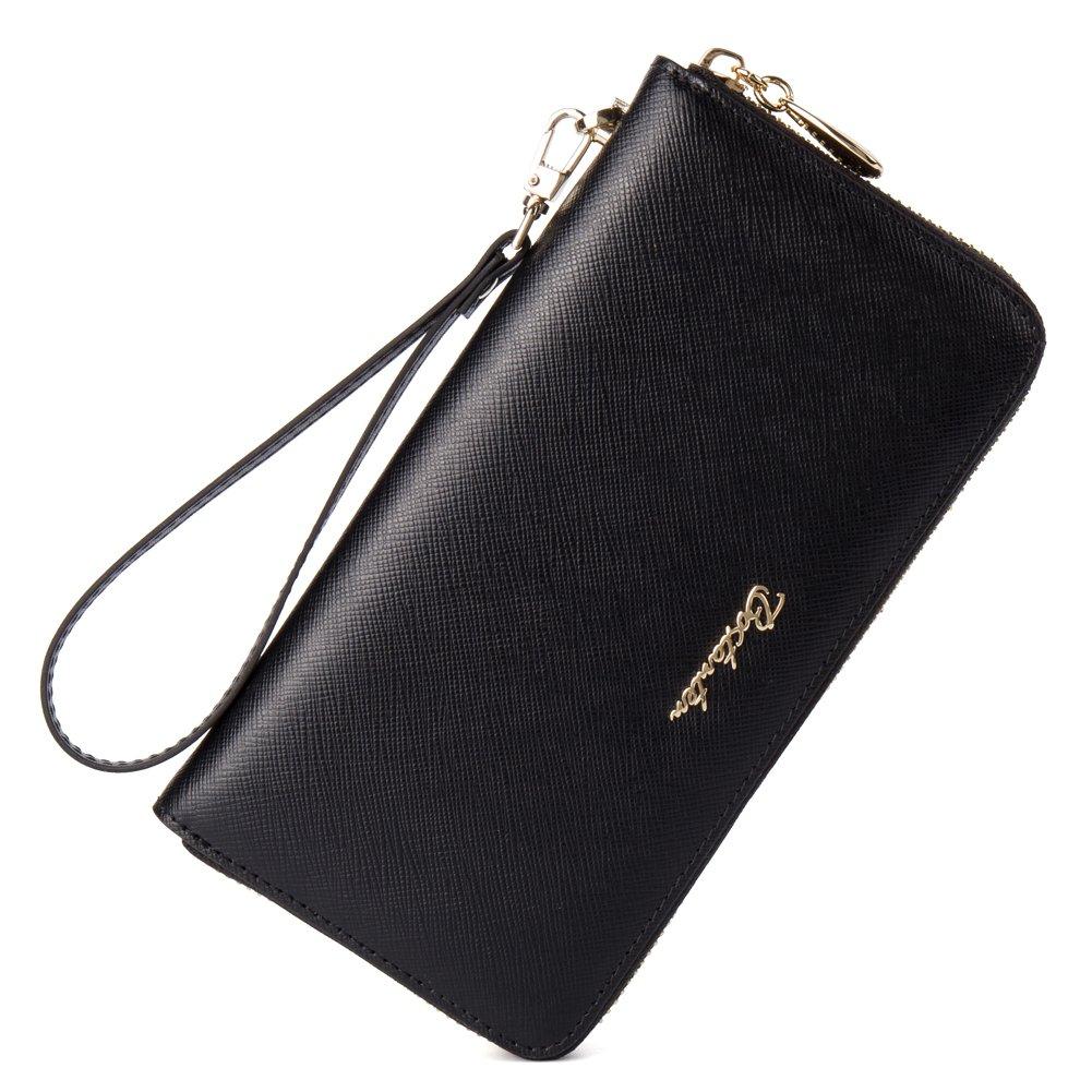 BOSTANTEN Women Leather Wallet Clutch Purses Card Cash Holder Long Wallets Black