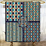 PRUNUSHOME Arabian Decor Shower Curtain Set Different Islamic Ornate Mosaic Patterns Historical Lines Heritage Culture Print Bathroom Accessories Extralong Blue Orange White/W72 x L96
