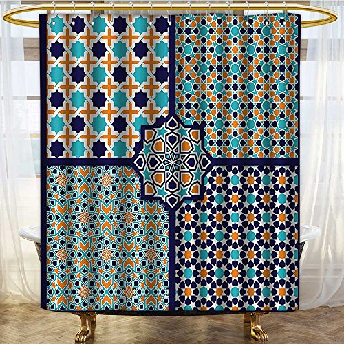 PRUNUSHOME Arabian Decor Shower Curtain Set Different Islamic Ornate Mosaic Patterns Historical Lines Heritage Culture Print Bathroom Accessories Extralong Blue Orange White/W72 x L96 by PRUNUSHOME