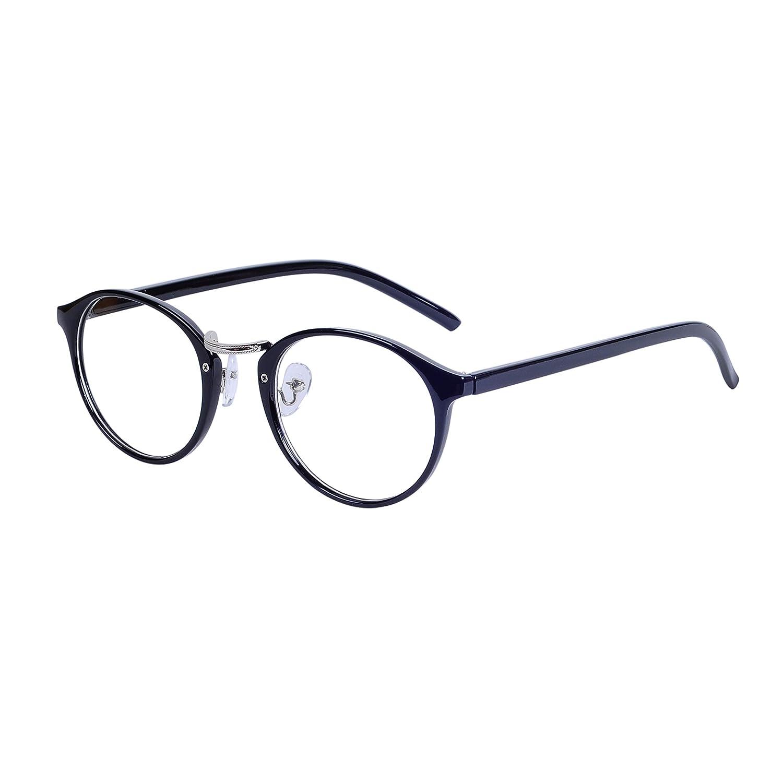 Clear Lens Retro Round Glasses Frame Women Men Horned Rim Metal Bridge + Case