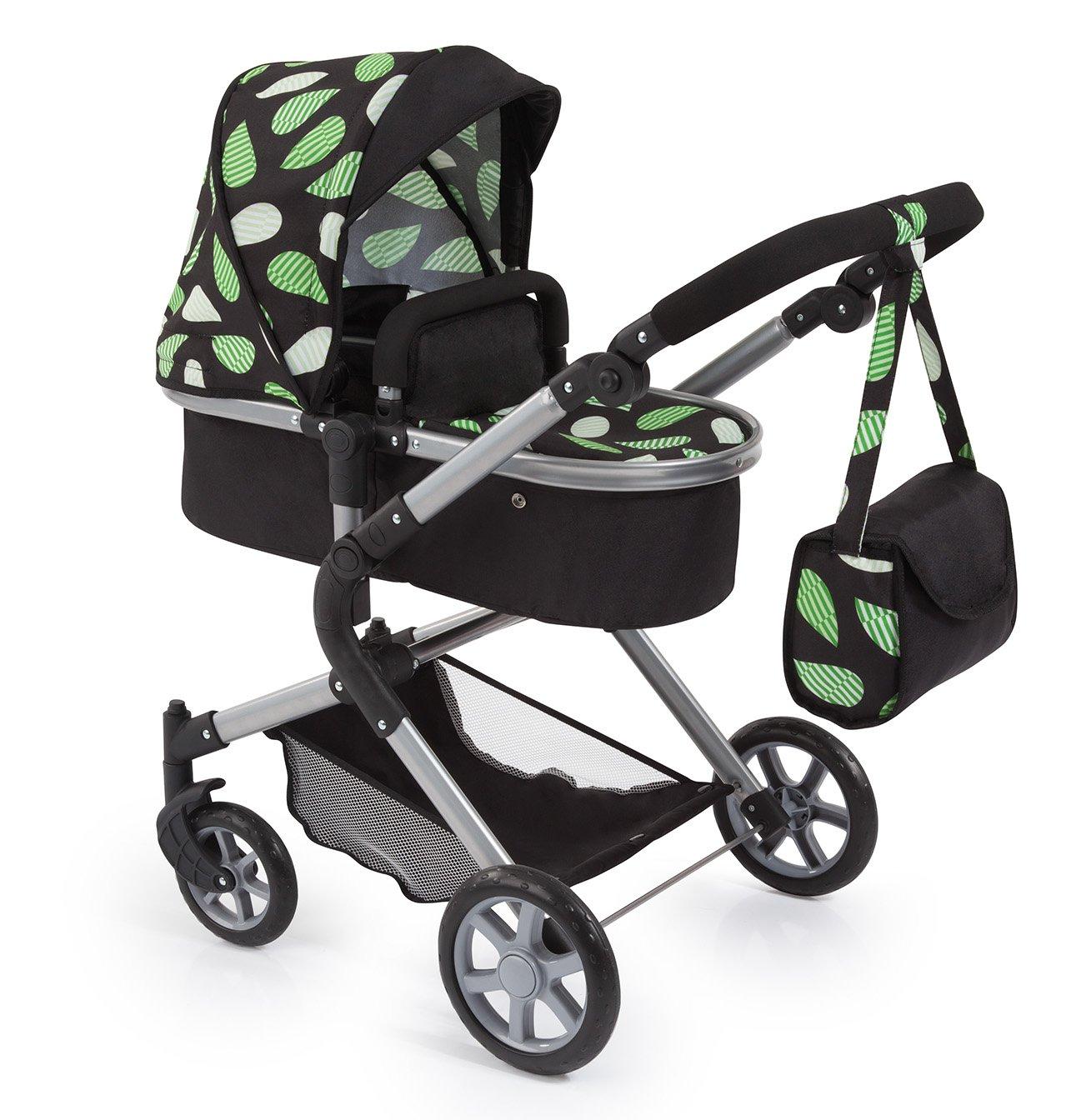 Bayer Design 18148AA Landau pour poupée City Neo avec un sac à bandoulière et un panier, convertible en une poussette, Noir avec Motif Vert