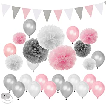 Amazon Pink Silver White Themed Baby Shower Party Decorations