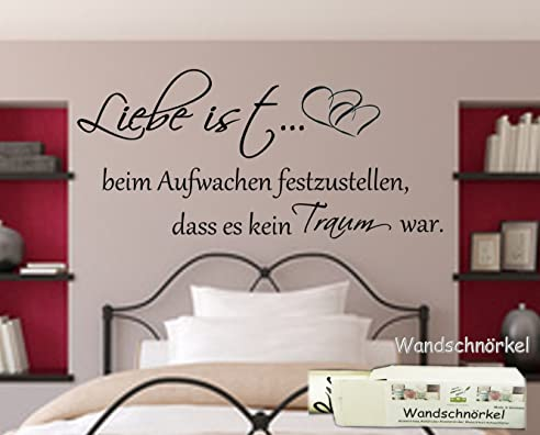 Wandtattoo Schlafzimmer Spruch Liebe Ist Beim Aufwachen - Wandtatoo schlafzimmer