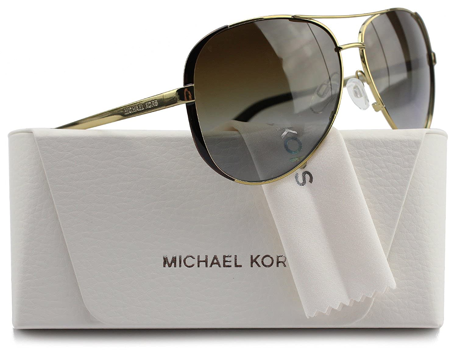 263aae583bd Amazon.com  Michael Kors MK5004 Chelsea Aviator Polarized Sunglasses Gold  w Brown Gradient (1014 T5) MK 5004 1014T5 59mm Authentic  Clothing