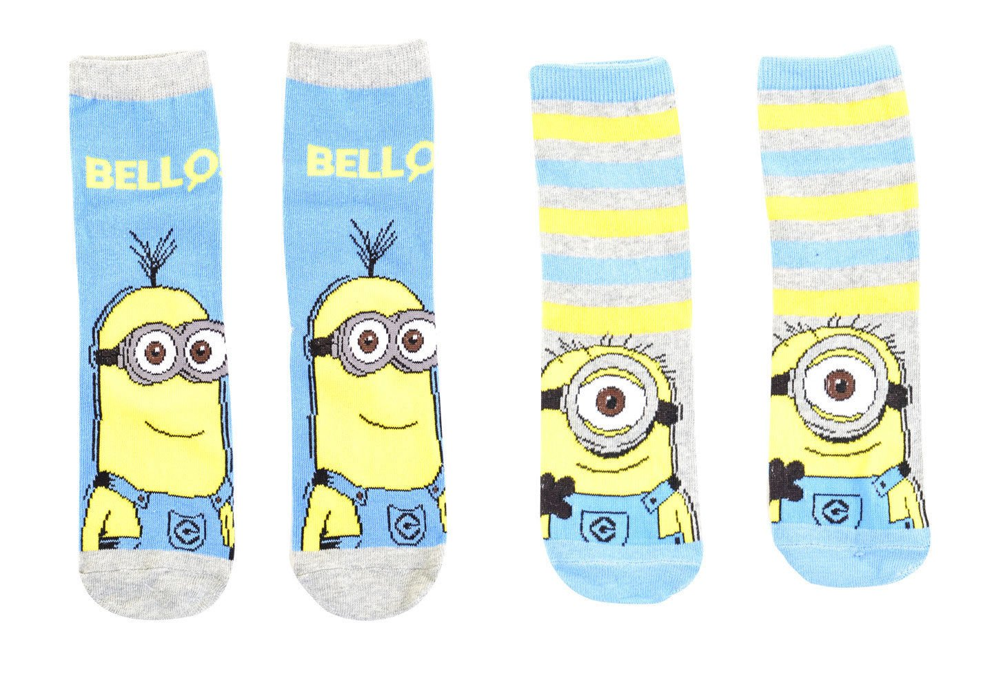 2 3 Pack Assorted Kids Girls Boys Despicable Me Minions Ankle Socks - 3 Designs
