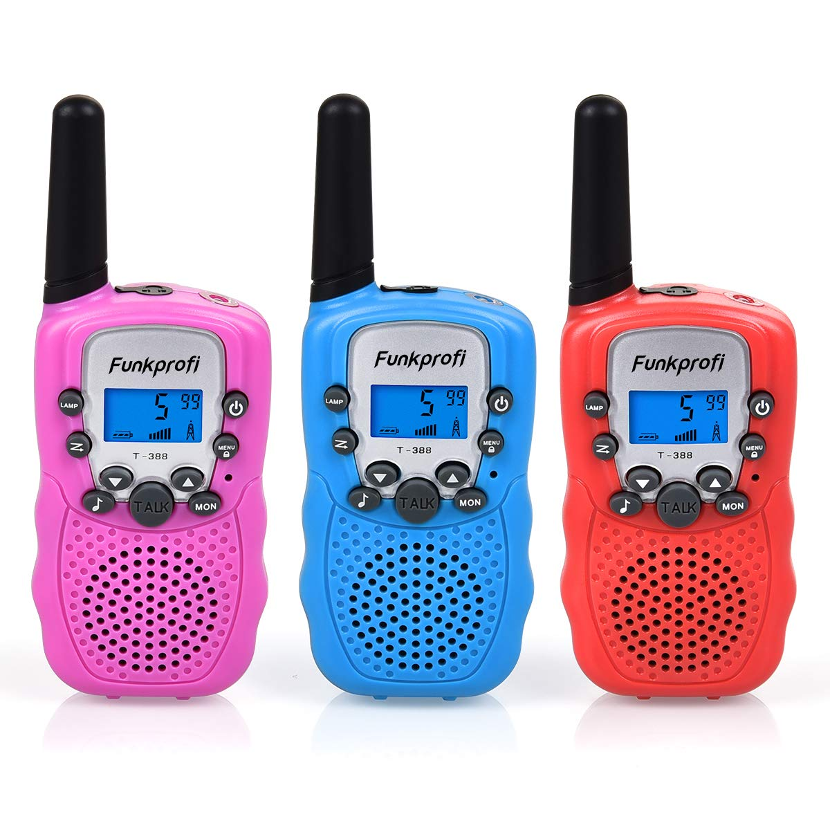Funkprofi 3 Pack Walkie Talkies for Kids 22 Channel Uhf FRS/GMRS 2 Way Radio, Toy Gifts for Boys and Girls Birthday, Outdoor Adventure, Camping, Hiking