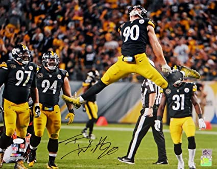 61fa2846e Image Unavailable. Image not available for. Color  TJ Watt Autographed  Pittsburgh Steelers 16x20 Jumping PF- JSA W Auth Holo Blk