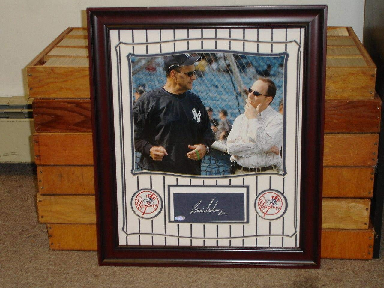 Brian Cashman NY Yankees GM Signed Framed 19x22 Display Piece w/Torre STEINER MLB Cut Signatures
