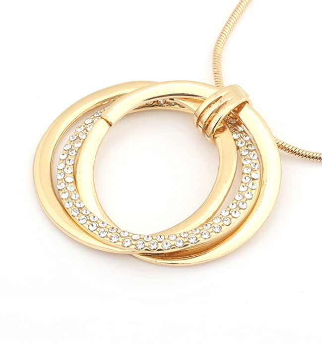 9ff2042f3 Amazon.com: VUJANTIRY Women's Triple Circle Pendant Necklace Crystal  Interlocking Pendants Long Necklace Lariat Necklace: Jewelry
