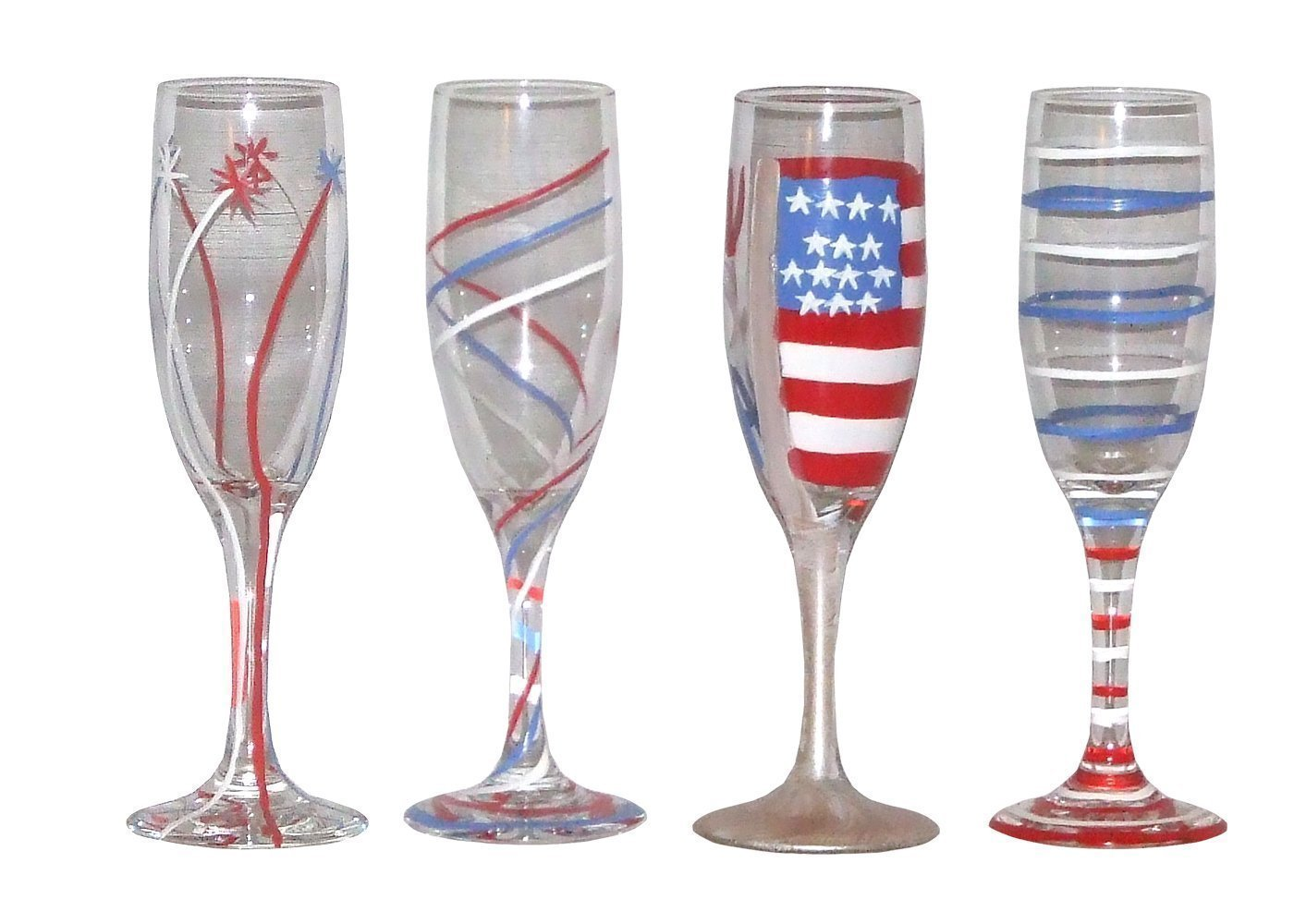 Set of 2 Patriotic Champagne Glasses Hand Painted.