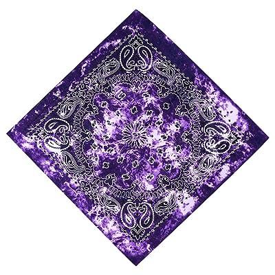 Xdodnev Gradient Tie-Dye Ethnic Paisley Floral Print 50x50CM Unisex Cotton Sport Pocket Square Scarf Headband Bandana Hip-Hop Wristband: Home & Kitchen