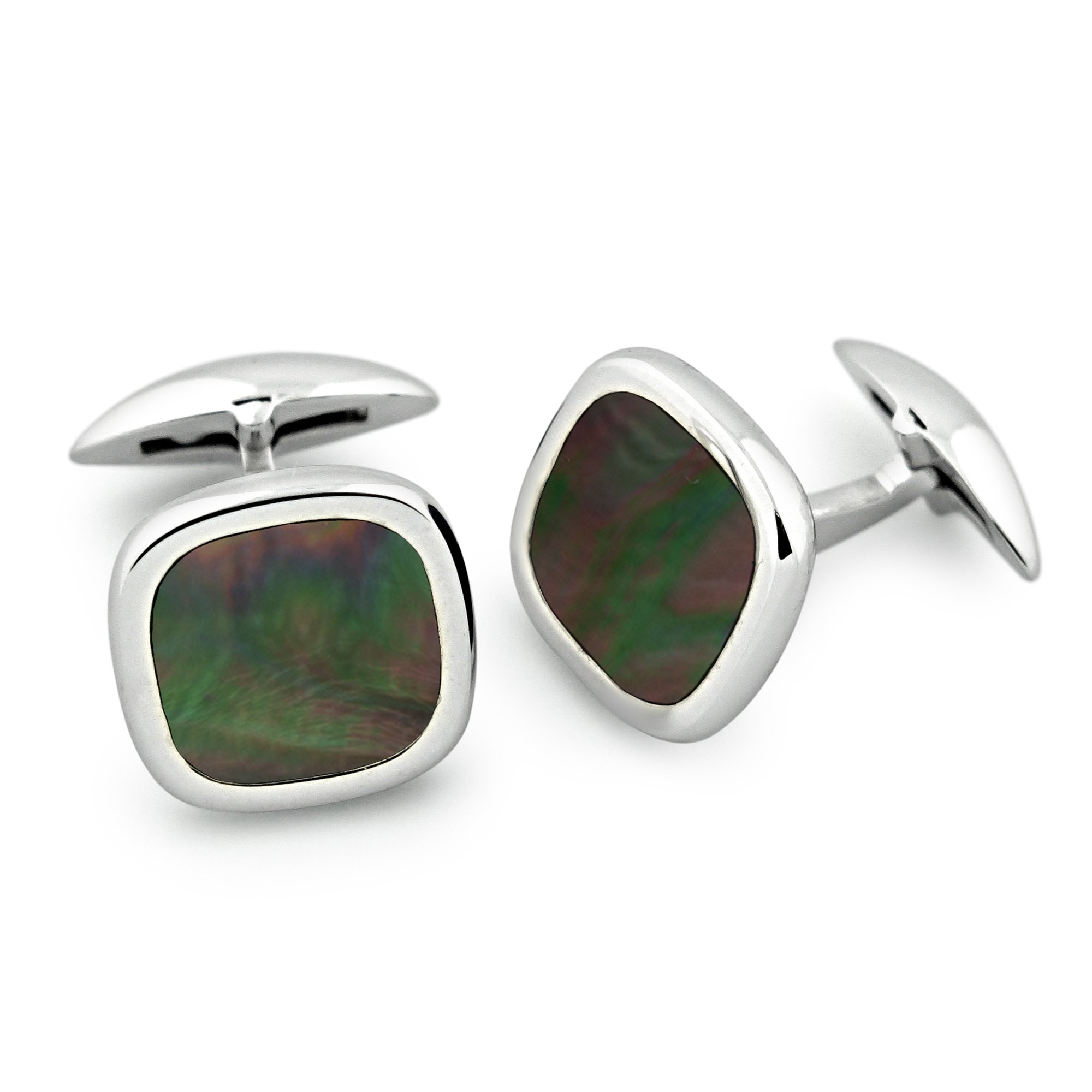 Zsamuel Mens Sterling Silver 925 Black Mother of Pearl Rounded Square Cufflinks
