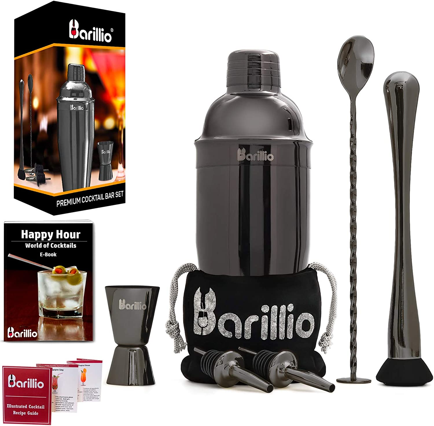 Black Cocktail Shaker Set Bartender Kit by BARILLIO: 24 oz Stainless Steel Martini Mixer, Muddler, Mixing Spoon, jigger, 2 liquor pourers, Velvet Bag, Recipes Booklet & eBook