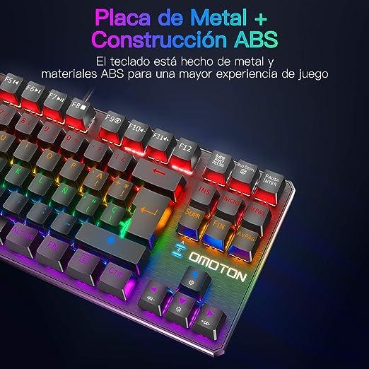 OMOTON Teclado Mecánico Mini Gaming Teclado RGB-LED, Macro Personalizada-Pequeño Gaming Teclado Español con Azul Interruptor para ...