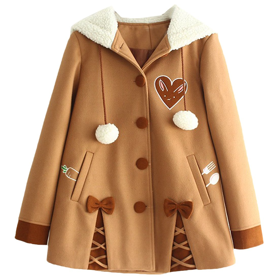 Partiss Womens Winter Cute Button Fleece Pea Coat Hooded Outwear Jacket,S,Brown